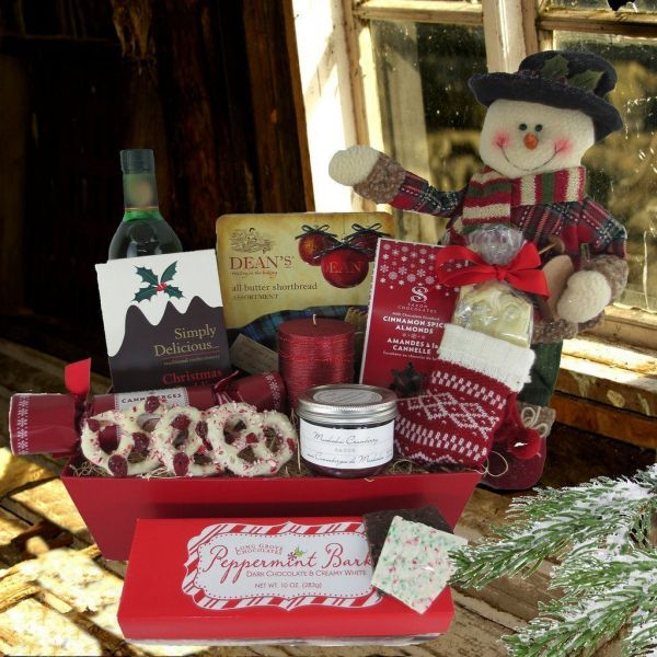 A Traditional Christmas Gift Basket, with Spirits