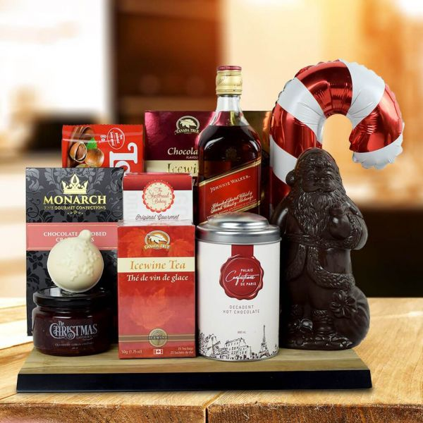 North Pole Delights Gift Basket With Whiskey