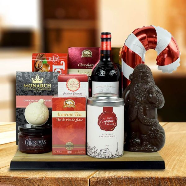 North Pole Delights Gift Basket With Wine