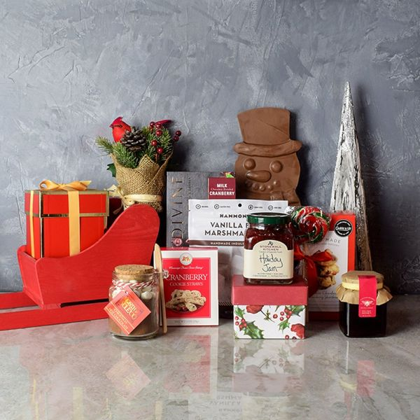 Sweet Christmas Sleigh Gift Basket