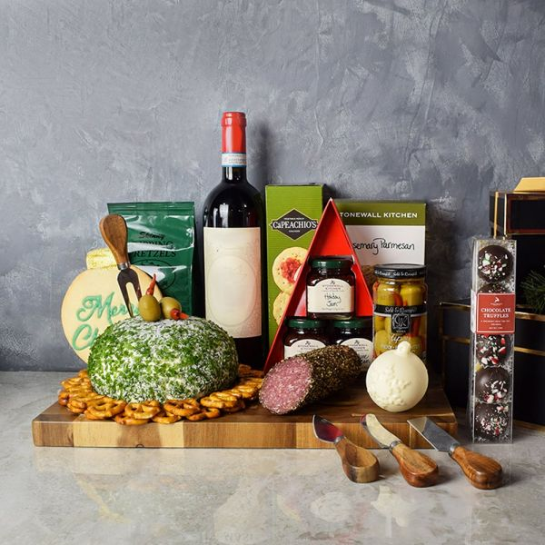 Holiday Wine & Cheese Ball Gift Basket
