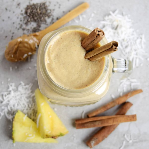 Upside Down Peanut Butter Pineapple Smoothie With Chia Seeds