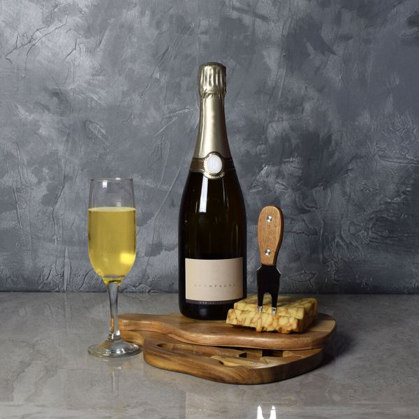 Bubble & Cheese Please Champagne Gift Basket