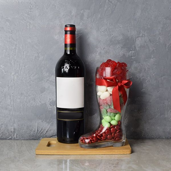 Christmas Wine & Candy Boot Gift Basket