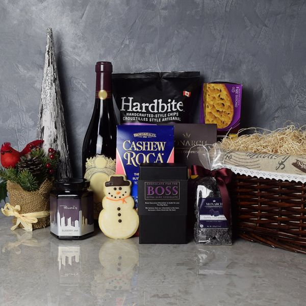 Holiday Treats & Wine Gift Basket