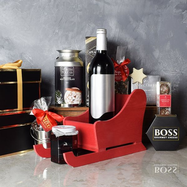 Saint Nick's Sleigh Basket with Wine