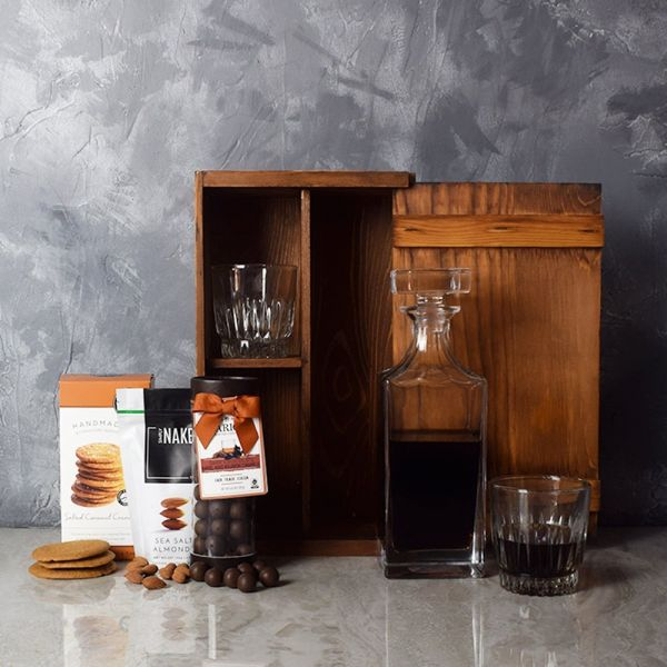 Rustic Decanter & Snacks Gift Set