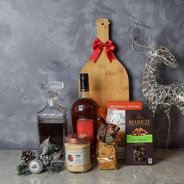 Holiday Liquor Decanter & Treats Basket