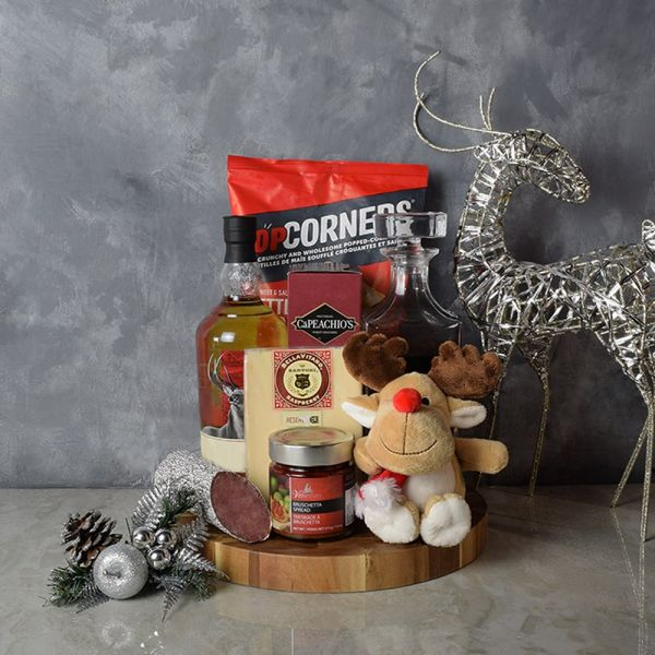 Rudolph's Snacks & Liquor Decanter Gift Basket