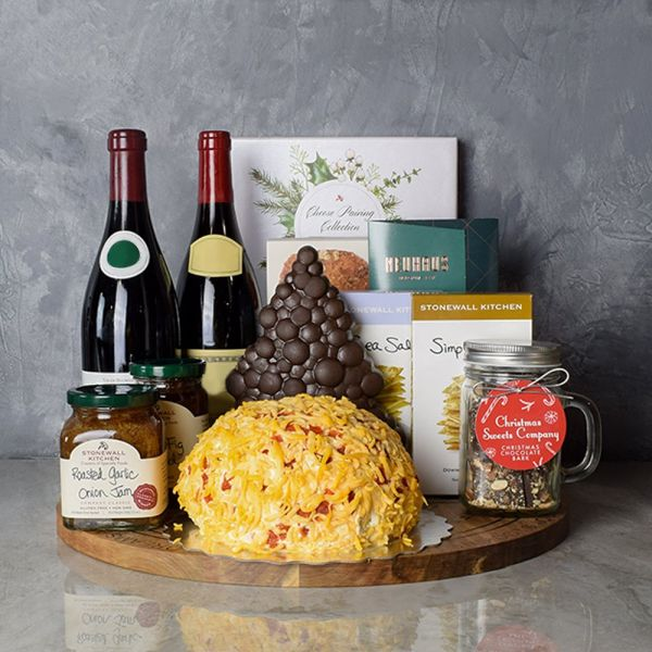 Holiday Wine, Cheese & Chocolate Gift Basket