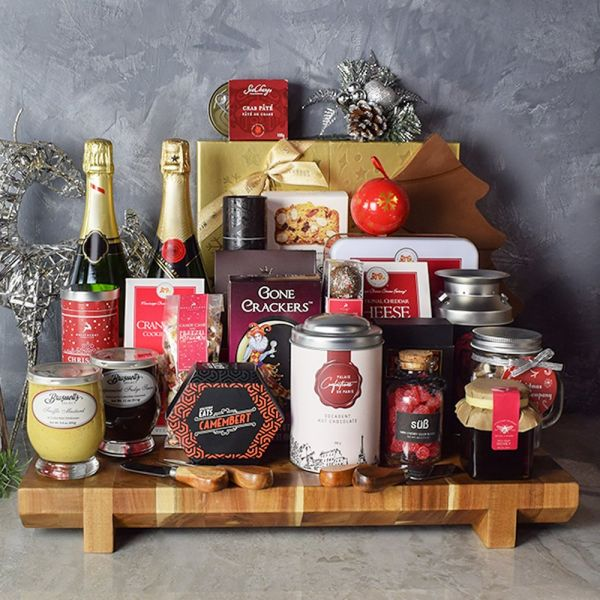 Opulent Christmas Champagne & Chocolate Gift Basket