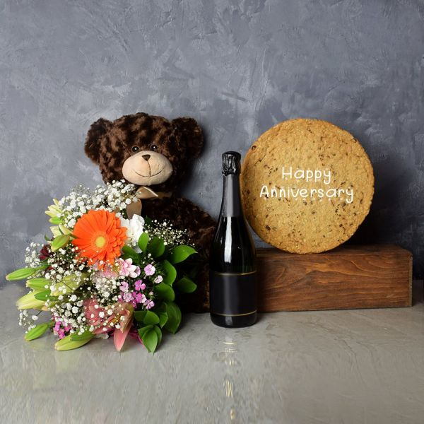 Happy Anniversary Cookie & Champagne Gift Set