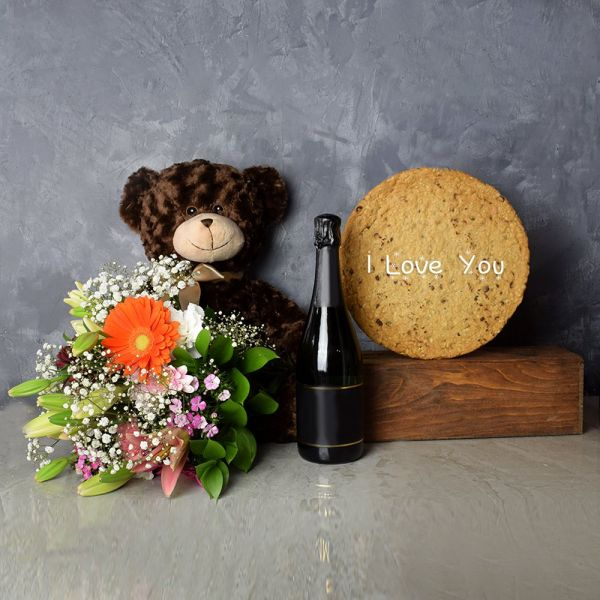 """I Love You"" Cookie & Champagne Gift Set"