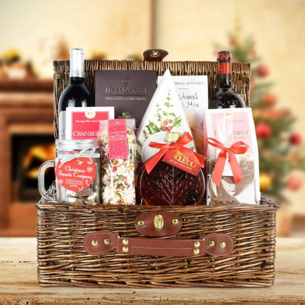 Peppermint Pretzels & Wine Gift Basket