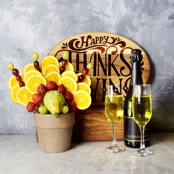 Turkey Edible Arrangement With Champagne