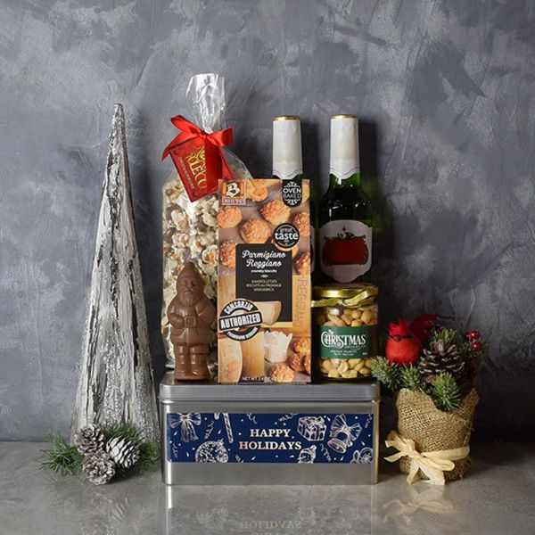 Happy Holidays Beer & Snacks Gift Basket