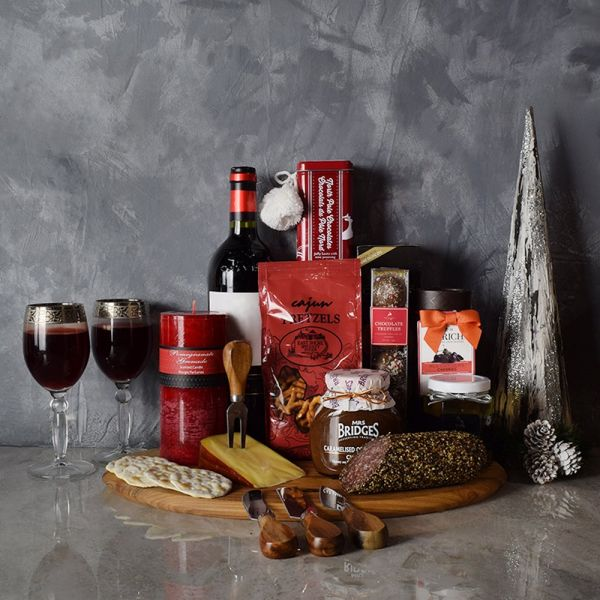 Deluxe Yuletide Wine & Cheese Gift Basket