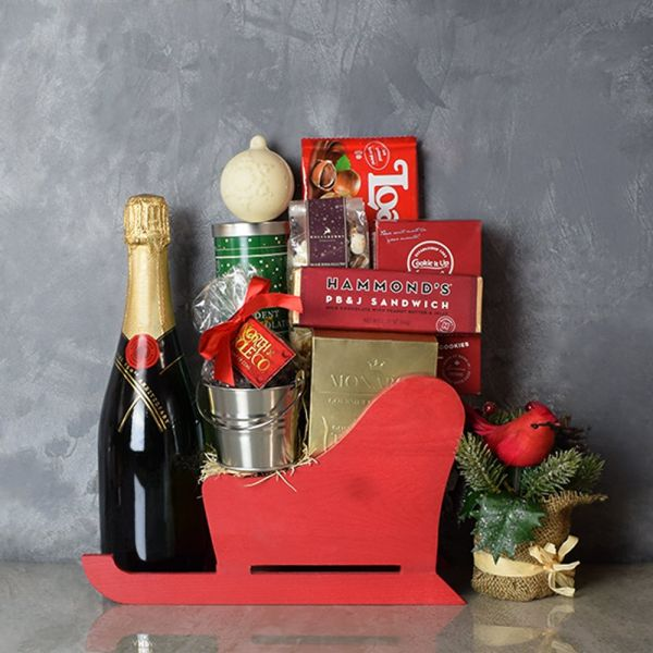 Treats & Champagne Sleigh Basket